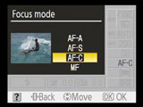 nikon focus mode screen