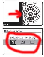 example of metering mode menu on canon 400D SLR