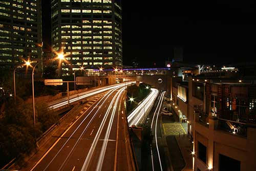 How to photograph car light trails. Example taken with a slow 30 second shutter speed.