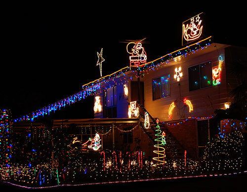 example of Christmas lights photographed at night time