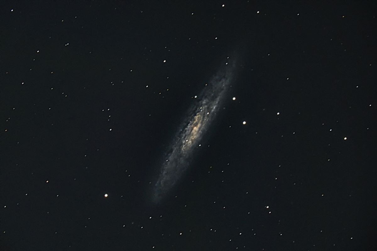 Sculptor Galaxy after stacking 8 photographs.